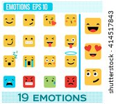 square emotions. yellow smileys.... | Shutterstock .eps vector #414517843