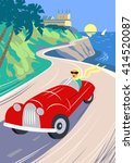 summer road to the sea. the... | Shutterstock .eps vector #414520087