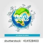 vector world globe. travel and... | Shutterstock .eps vector #414528403