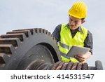 engineer checks mechanical gear ... | Shutterstock . vector #414531547