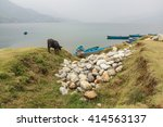 phewa lake in cloudy weather ... | Shutterstock . vector #414563137