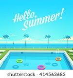 hello  summer  summertime quote.... | Shutterstock .eps vector #414563683