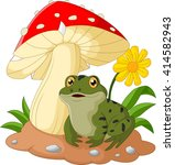 frog cartoon sits under mushroom | Shutterstock .eps vector #414582943