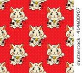happy japanese cat maneki neko... | Shutterstock .eps vector #414600907