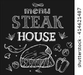 steak house menu. vector... | Shutterstock .eps vector #414621487