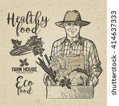 farmer carrying a wooden crate... | Shutterstock .eps vector #414637333