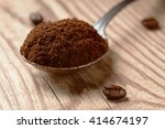 spoon full of ground coffee and ... | Shutterstock . vector #414674197