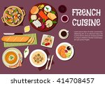 french cheese plate served with ... | Shutterstock .eps vector #414708457