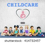 care childcare love baby take... | Shutterstock . vector #414732457