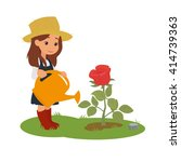 Stock vector  girl watering a beautiful flower on the flowerbed vector 414739363