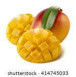 mango whole cut served isolated ... | Shutterstock . vector #414745033