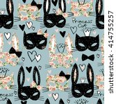 Cats Seamless Pattern. Cute...