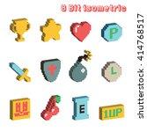 8 bit isometric icons  vector... | Shutterstock .eps vector #414768517