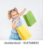shopping child. little girl... | Shutterstock . vector #414768853