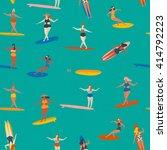 art deco beach surfing poster...   Shutterstock .eps vector #414792223