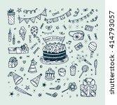birthday party elements vector... | Shutterstock .eps vector #414793057