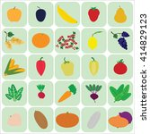 flat icons fruits  vegetables ... | Shutterstock .eps vector #414829123
