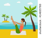 girl doing yoga in the beach... | Shutterstock .eps vector #414835783