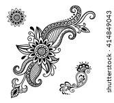 henna tattoo flower template... | Shutterstock .eps vector #414849043