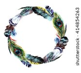 watercolor wreath with feathers ... | Shutterstock . vector #414854263