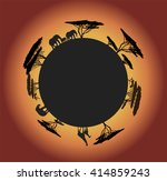 black silhouette of world with... | Shutterstock .eps vector #414859243
