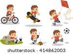 Cute Happy Cartoon Boy Playing...