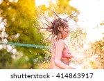 girl in bikini dancing at the... | Shutterstock . vector #414863917