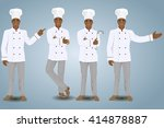 four cooks in different poses.... | Shutterstock .eps vector #414878887