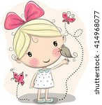 Cute Cartoon Girl With Bird An...