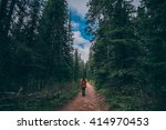 girl hiking into into canadian...   Shutterstock . vector #414970453