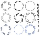 set of doodle wreath.vector... | Shutterstock .eps vector #414980887