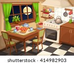 Vector illustration of an evening kitchen interior with laid table and a kettle on a stove. | Shutterstock vector #414982903