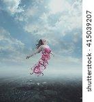 a woman praises to heaven but...   Shutterstock . vector #415039207