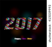 2017 drawn from the color stripe | Shutterstock .eps vector #415039993