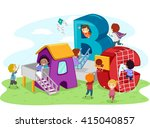 stickman illustration of kids... | Shutterstock .eps vector #415040857