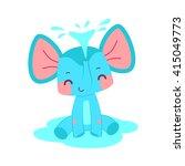 cartoon flat elephant spraying... | Shutterstock .eps vector #415049773