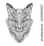zen art fox. zentangle animal... | Shutterstock .eps vector #415056307