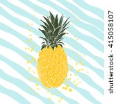 hand drawn pineapple. vector... | Shutterstock .eps vector #415058107