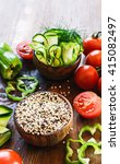 ingredients for quinoa salad... | Shutterstock . vector #415082497