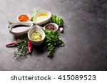 herbs  condiments and spices on ... | Shutterstock . vector #415089523