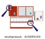 notebook  diary  magnifier and... | Shutterstock .eps vector #415095193