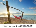 happy woman relaxes  lying in a ... | Shutterstock . vector #415108807