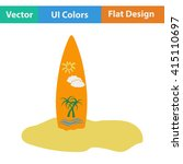 flat design icon of surfboard...