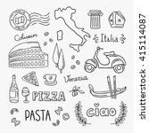 italy hand drawn icons and... | Shutterstock .eps vector #415114087