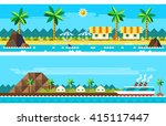 flat design of summer paradise... | Shutterstock .eps vector #415117447