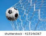 soccer ball in goal net with... | Shutterstock . vector #415146367