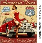 diner route 66 vintage poster | Shutterstock .eps vector #415149547