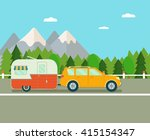 road trip. travel trailer and... | Shutterstock .eps vector #415154347