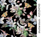 seamless pattern with flowers... | Shutterstock . vector #415154743
