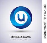 u letter logo in the blue... | Shutterstock .eps vector #415164283